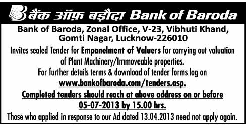 Valuers World :: View topic - Bank Of Baroda Valuer's empanelment in
